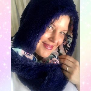 Handmade reversible fuzzy plush hoodie scarf